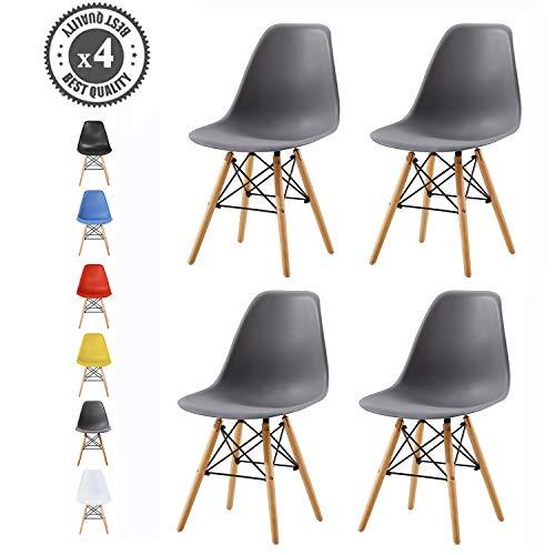 MCC Retro Design Stühle LIA Esszimmerstühle im 4er Set, Eiffelturm inspirierter Style für Küche, Büro, Lounge, Konferenzzimmer etc, 6 Farben, Kult (Grau)