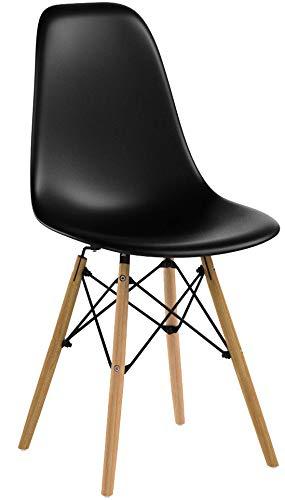 Naturelifestore 4 x Designer Kunststoff Stuhl Polypropylen und ausBuchenholz,Wohnzimmerstuhl Esszimmerstuhl Bürostuhl,Schwarz
