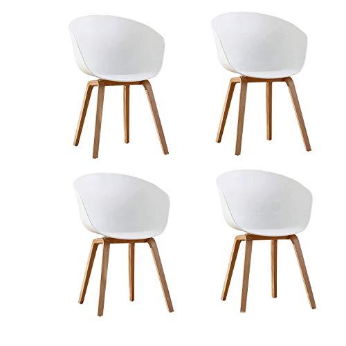Naturelifestore 4er Set Esszimmerstuhl Scandinavian Sessel Beistellstuhl Retro-Design mit Soliden Metallbeinen (Weiß)