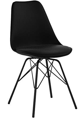 Nimara 2er Set Comfort Stuhl in skandinavischem Design | Esszimmerstühle und Küchenstühle | Stühle in Schwarz, Weiß, Grau und Mehreren Farben | Sitzkissen Stuhl | Retro Stuhl (Schwarz)